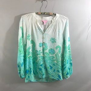 Lilly Pulitzer silk floral blouse size XXS